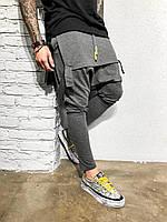 Мужские спортивные штаны серые КА1969, фото 1