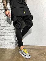 Мужские спортивные штаны черные КА1969, фото 1