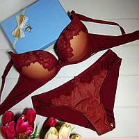 Комплект женского нижнего белья с эффектом пуш ап Balalaum 9381 бордовый., фото 1