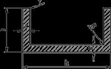 Швеллер алюминий | П образный профиль Без покрытия, 20х20х1.5 мм