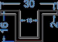 Алюминиевый швеллер отбортованный, Анод 30х16х2 мм