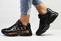 Женские кроссовки в стиле Gucci, черные 37 (23,5 см)