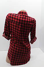 Женская штапельная  рубашка в клетку с длинным рукавом оптом в Хмельницком, фото 2