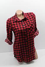 Женская штапельная  рубашка в клетку с длинным рукавом оптом в Хмельницком, фото 3