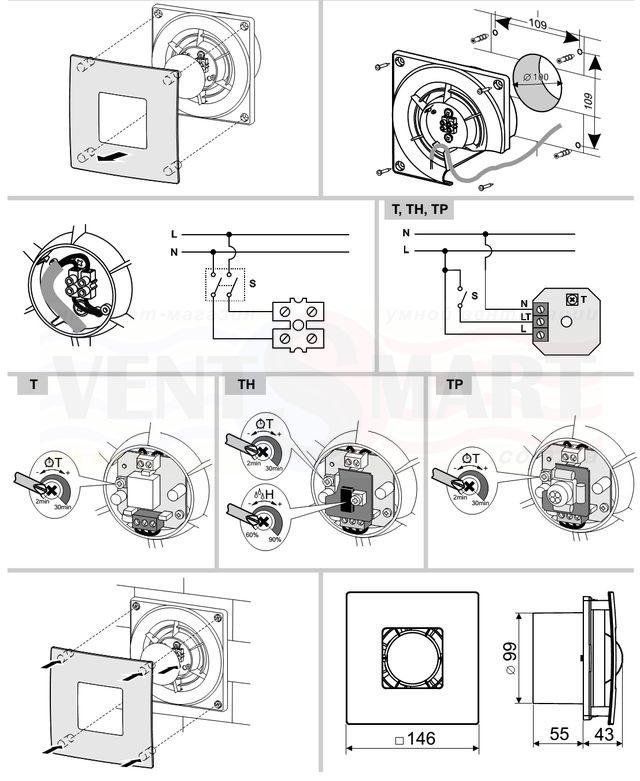 Габаритные размеры, монтаж и схема подключения осевого вытяжного настенного компактного вентилятора Колибри Атолл 100 (COLIBRI ATOLL 100) ― для кухни, в ванную, в туалет, для офиса ― который Вы можете купить недорого с доставкой в интернет-магазине вентиляции ventsmart.com.ua