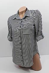 Женская штапельная рубашка в полоску с длинным рукавом оптом в Украине