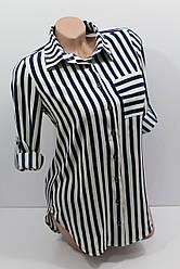 Женская рубашка в полоску с длинным рукавом штапель оптом в Украине