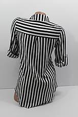 Женская рубашка в полоску с длинным рукавом штапель оптом в Украине, фото 2