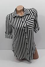Женская рубашка в полоску с длинным рукавом штапель оптом в Украине, фото 3