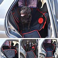 Автогамак, автомобильный чехол для перевозки собак, защитная накидка для собак в машину DOX Standart black/red