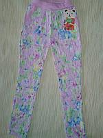 Брюки розовые с цветами детские коттон стрейч 2016