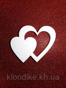 """Заготовка пенопластовая """"Двойное Сердце"""" 14.5 см, толщина 1 см"""