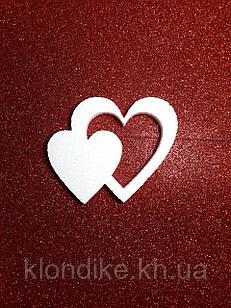 """Заготовка пенопластовая """"Двойное Сердце"""" 10 см, толщина 1 см"""