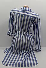 Женская рубашка-платье в полоску с длинным рукавом оптом в Украине, фото 3