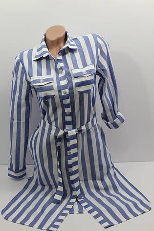 Женская рубашка-платье в полоску с длинным рукавом оптом в Украине, фото 2