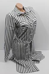 Женская рубашка-платье в полоску с длинным рукавом оптом в Украине