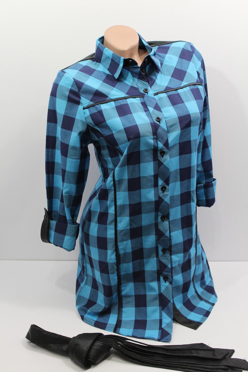 Женская удлиненная рубашка в клетку с длинным рукавом оптом в Украине