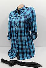 Женская удлиненная рубашка в клетку с длинным рукавом оптом в Украине, фото 2
