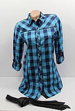 Женская удлиненная рубашка в клетку с длинным рукавом оптом в Украине, фото 3