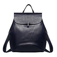 Женский рюкзак-сумка синий из натуральной кожи опт