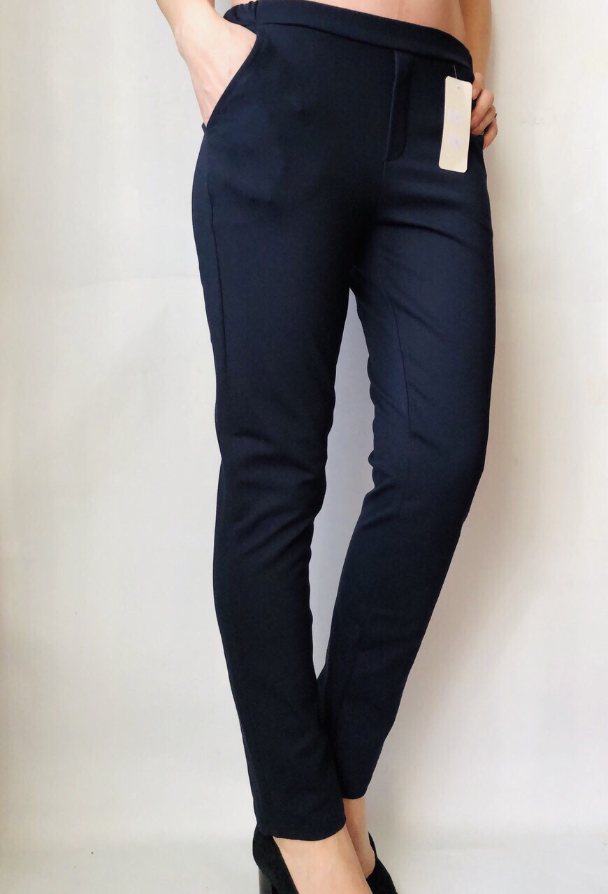 Женские брюки из трикотажа № 63 синие
