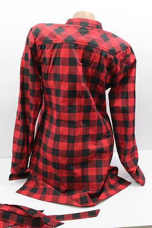 Женская удлиненная рубашка полубатал в клетку с длинным рукавом оптом в Украине, фото 2