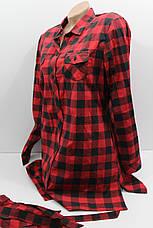 Женская удлиненная рубашка полубатал в клетку с длинным рукавом оптом в Украине, фото 3