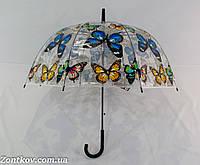 """Прозрачный зонтик трость грибком с бабочками от фирмы """"Angel""""."""
