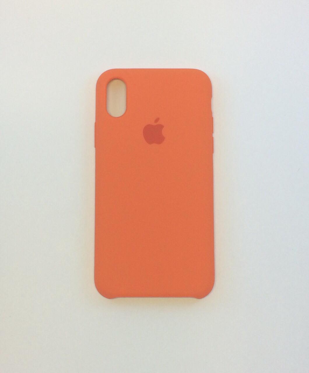 Чехол для iPhone X, сочный персик, силикон, copy original