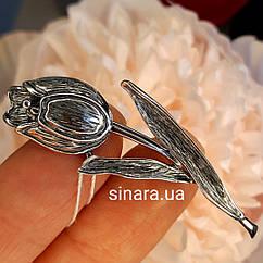 Серебряная брошь Тюльпан - Брошка Тюльпан серебро 925