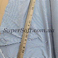 Ткань супер софт принт полоска голубая с белой