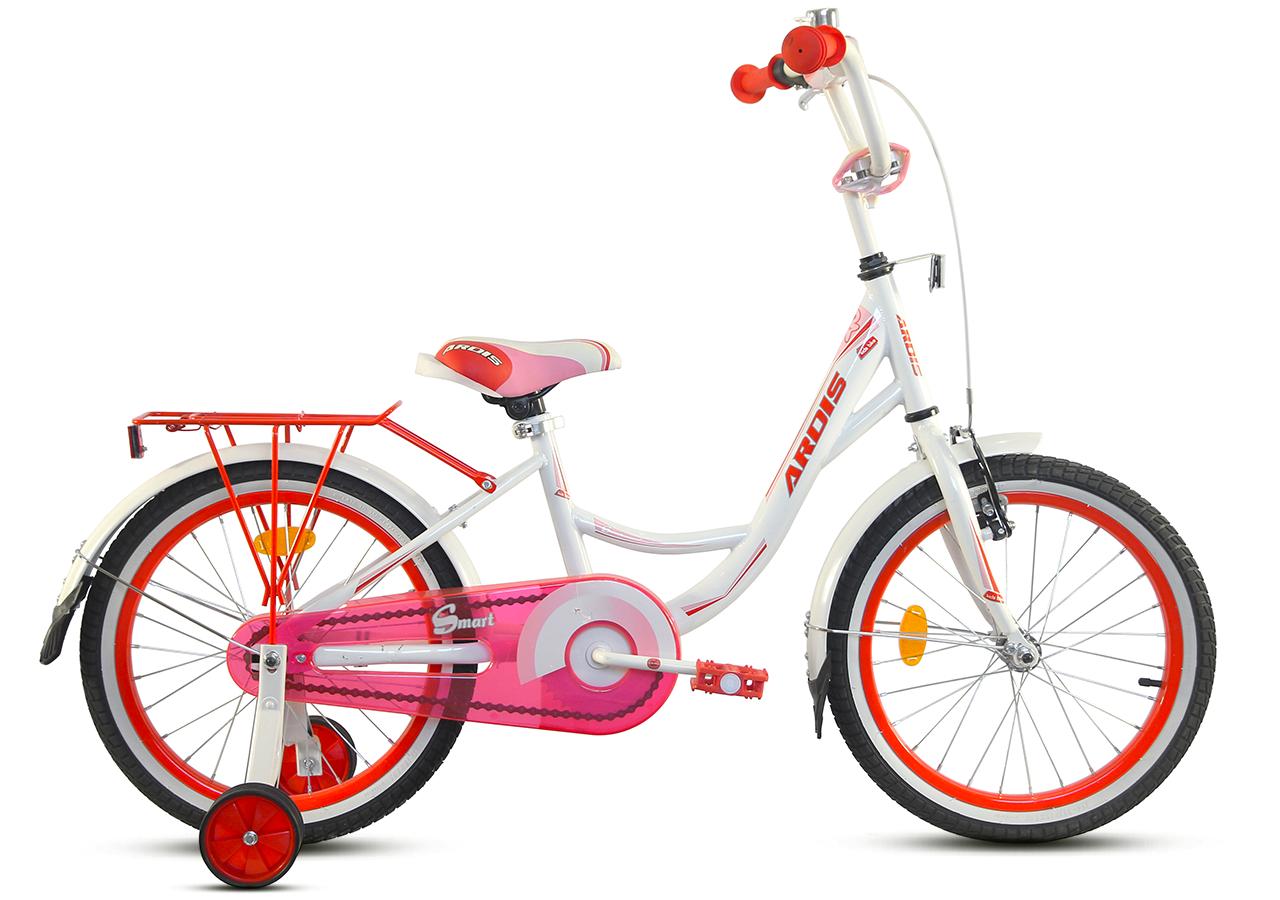 """Детский велосипед ARDIS SMART 20"""" с багажником и боковыми колесами, Бело-розовый"""