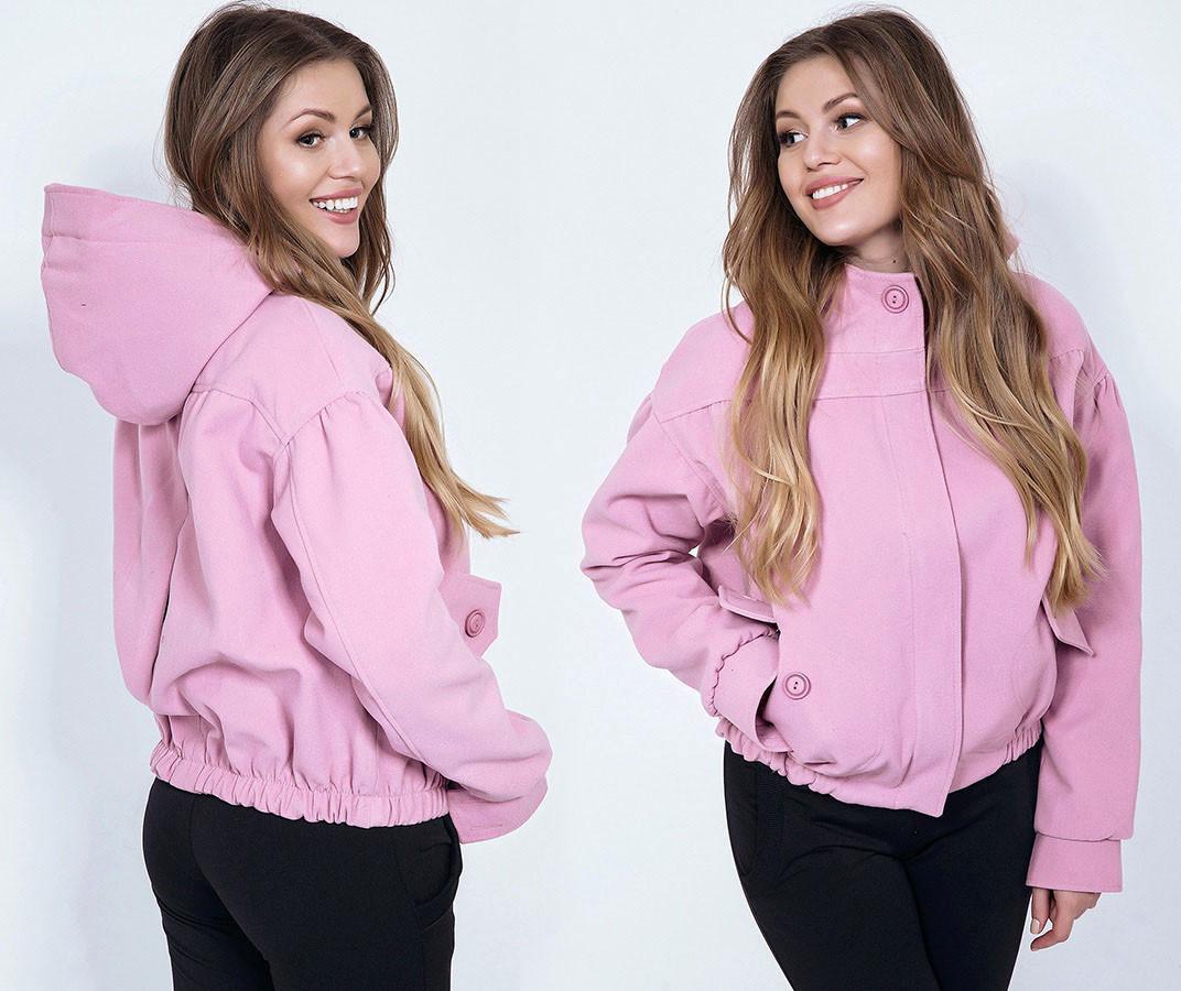 """Женская стильная куртка демисезон до больших размеров 5-660 """"Кашемир Капюшон Кармашки"""" в расцветках"""