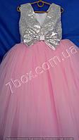 Детское нарядное платье бальное Пайетки (Розовое) Возраст 6-7 лет., фото 1
