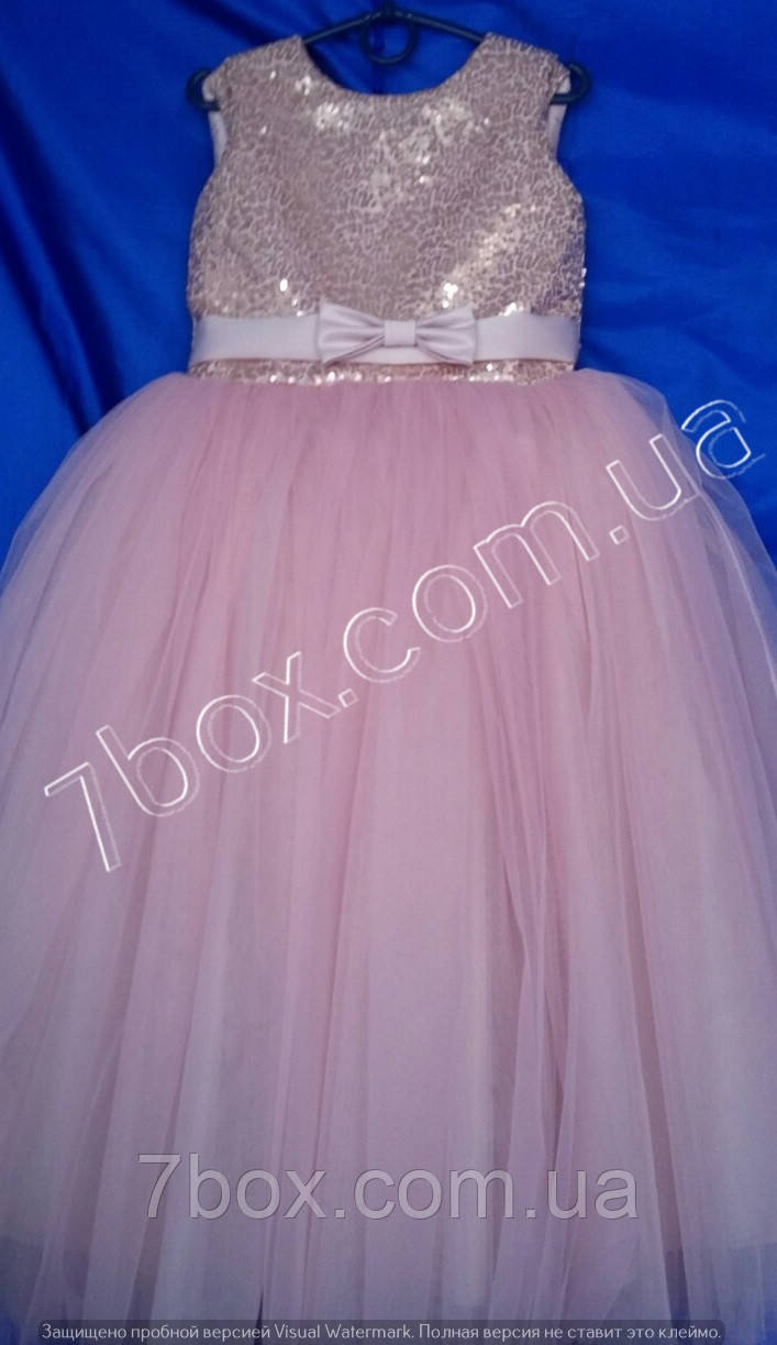 Детское нарядное платье бальное Пайетки (Пудра) Возраст 6-7 лет.