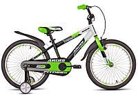 """Детский велосипед ARDIS FITNESS BMX 20"""" двухколесный с боковыми колесами, Черно-зеленый"""