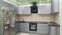П-образная кухня в металлике, фото 1