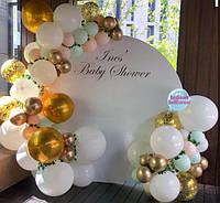 Круглая Белая Фотозона с Organic Balloons  для фотосессии, Свадьбы, Дня Рождения