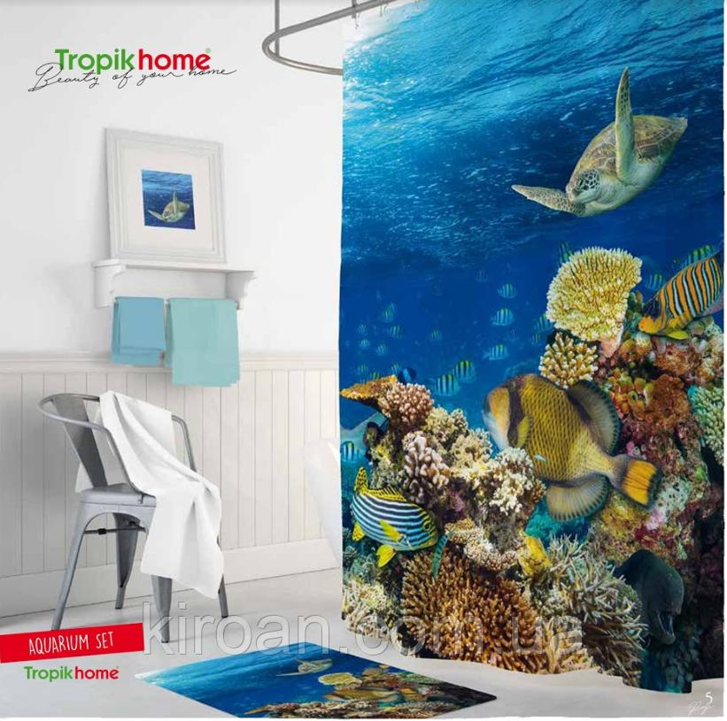 """Тканевая шторка для ванной и душа """"Морское дно"""", размер 180х200см. Tropik Home, Турция"""