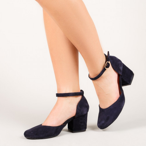 Туфли кожаные на ремешке с каблуком широким 6 см темно-синие