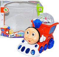 """Музичний паровозик """"Томас"""" YJ388-4, 2 кольори, на батарейки, світло, музика, проектор, їздить, в коробці"""