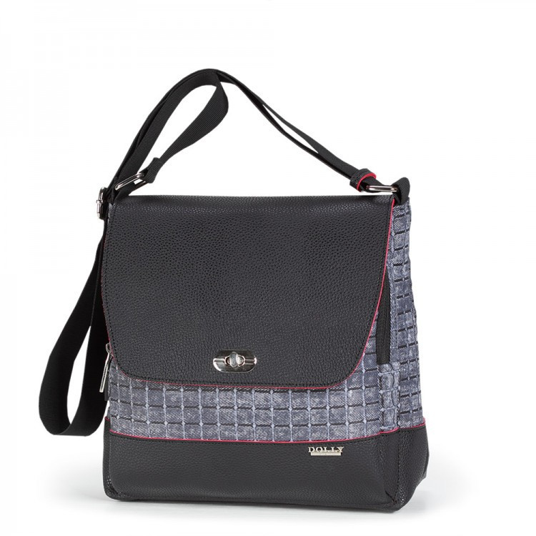 f82803af304f Женская сумка Dolly 643 черная молодежная на ремне 26 см х 25 см х 15 см
