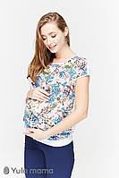 Легкая блузка для беременных и кормления MIRRA, белая с цветами, фото 1