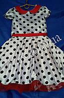 Детское нарядное платье Ретро Рукавчик. Горох 6-7 лет. Белое с красным