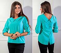 Блузка с пуговицами на спине, модель 116, цвет бирюза