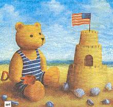 Декупажная салфетка Мишка на пляже 4510