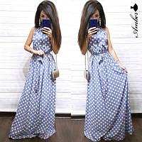 Платье женское, стильное, длинное, летнее в горошек,  1113-050