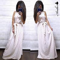 Платье женское, стильное, длинное, летнее в горошек,  1113-051