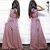 Платье женское, стильное, длинное, летнее в горошек,  1113-052