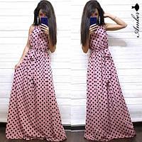 Платье женское, стильное, длинное, летнее в горошек,  1113-052, фото 1